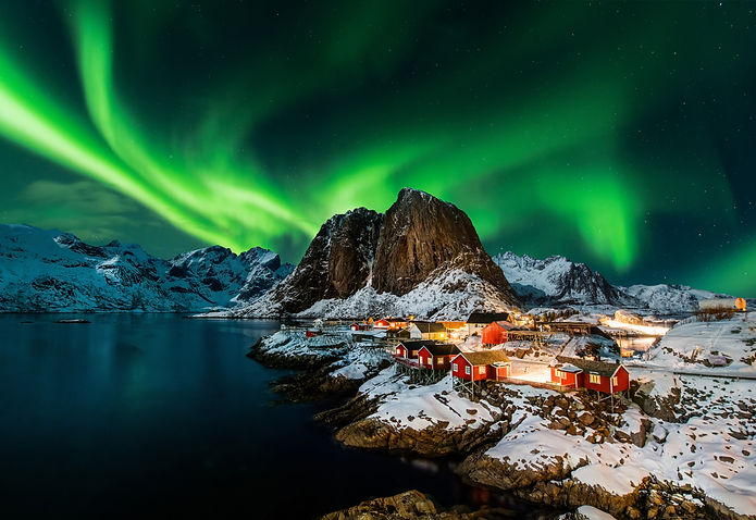Aurora borealis over Hamnoy in Norway.jp