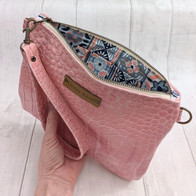 Pink Croc Leather Purse