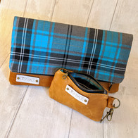 Matching Tartan Leather Clutch & Purse
