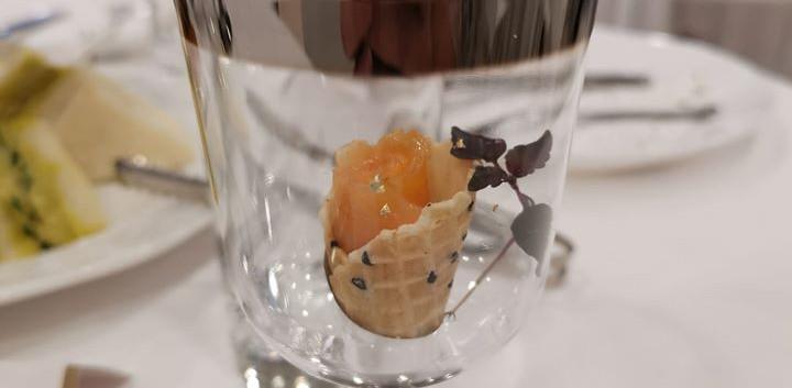 Smoked Salmon Rosette Mini Cone in glass