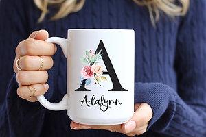 Floral Black Initial Coffee Mug