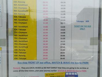 Khao Lak: Bus Fahrplan in Khaolak.