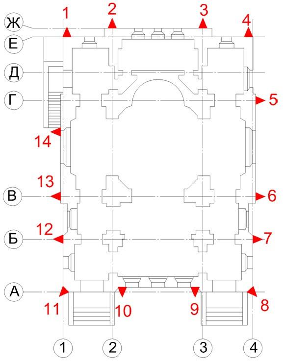 Схема расположения осадочных марок