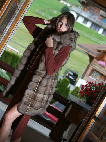 Cashmere Dres and Fur Gilet