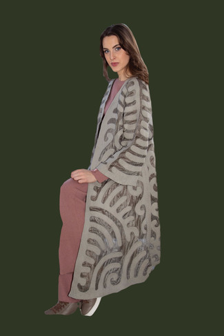 Hand pressed Wool and Silk Light Coat