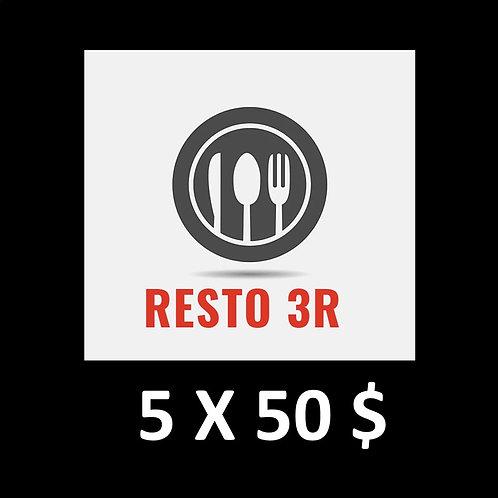 SÉLECTION 5 RESTOS AVEC 5 CARTES CADEAUX 50$