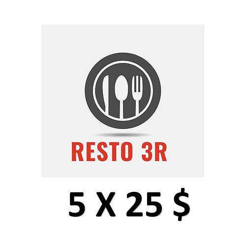 SÉLECTION 5 RESTOS AVEC 5 CARTES CADEAUX 25$