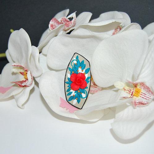 Martisor brosa trandafir rosu turcoaz