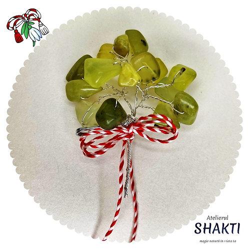 Martisor pomisor cu cristale naturale jad masliniu