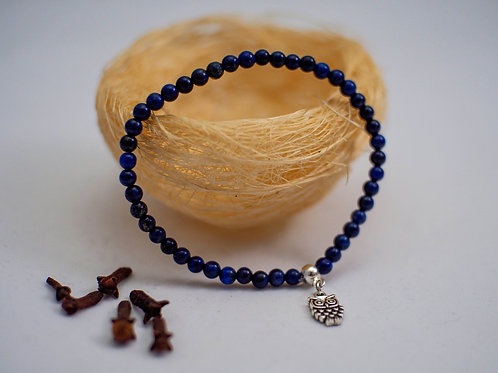 Bratara lapis lazuli si charm bufnita (4mm)