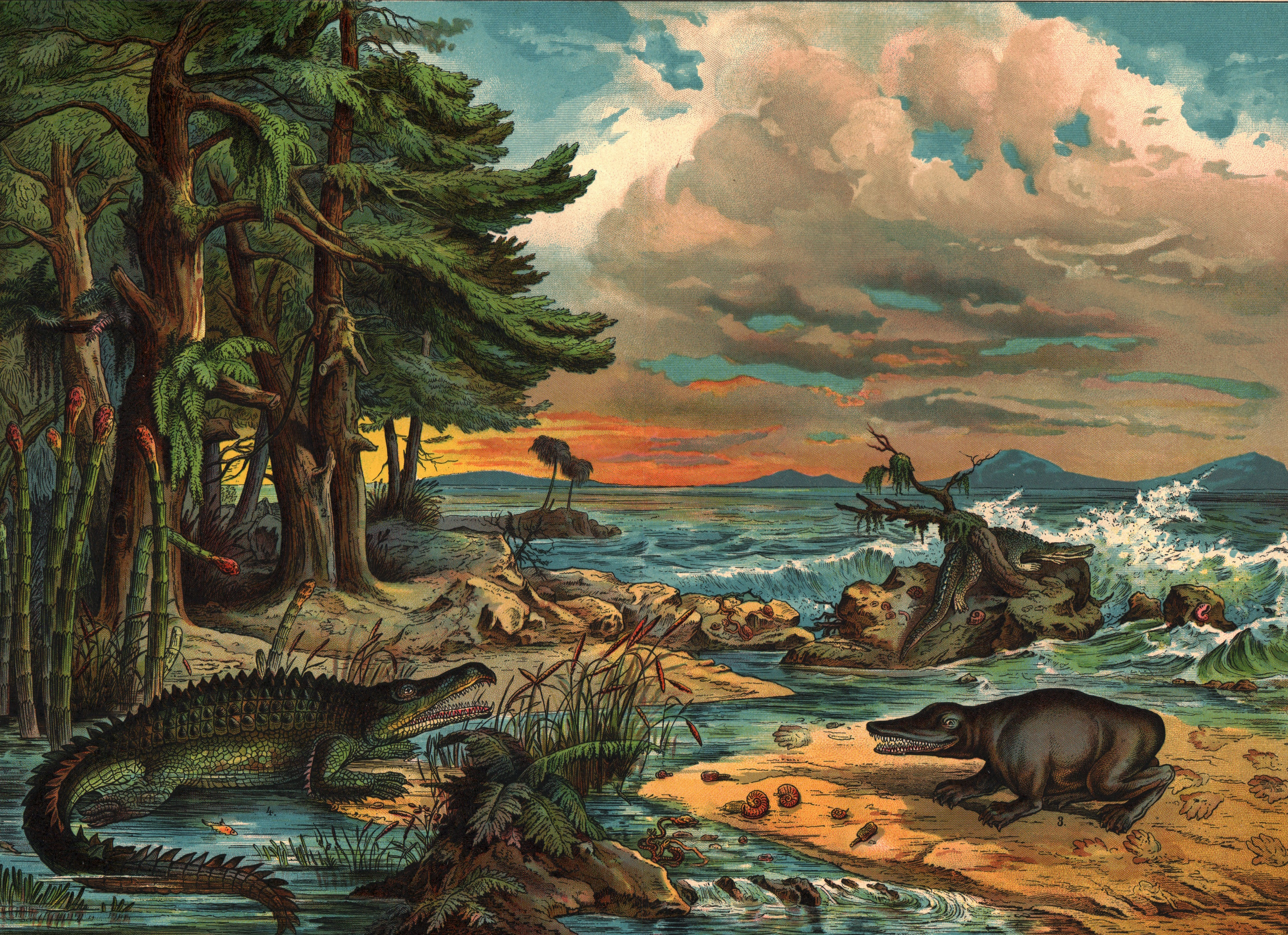 Dinosaurs near the Sea