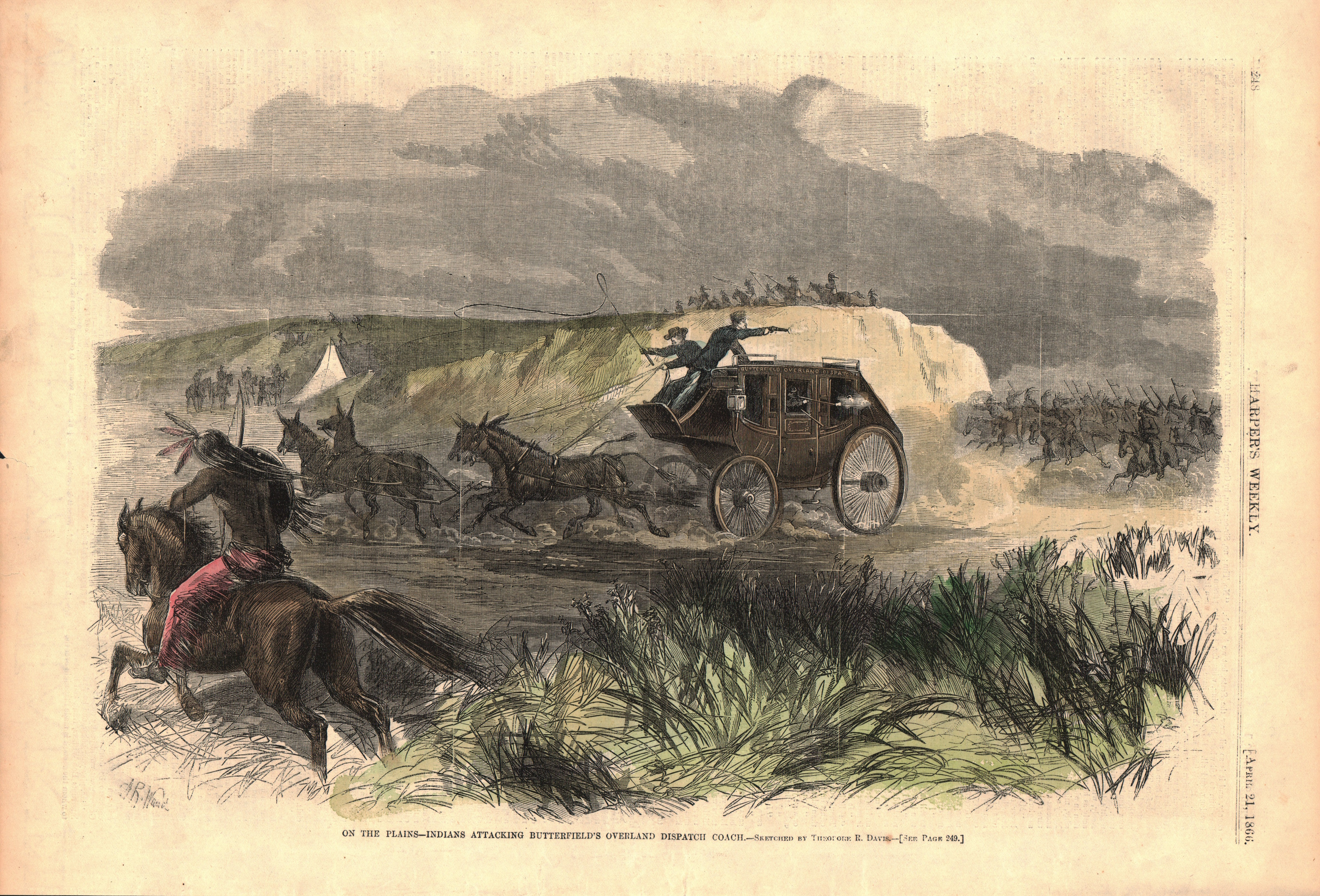On the Plains-Indians Attacking Butterfields Overland Dispatch Coach