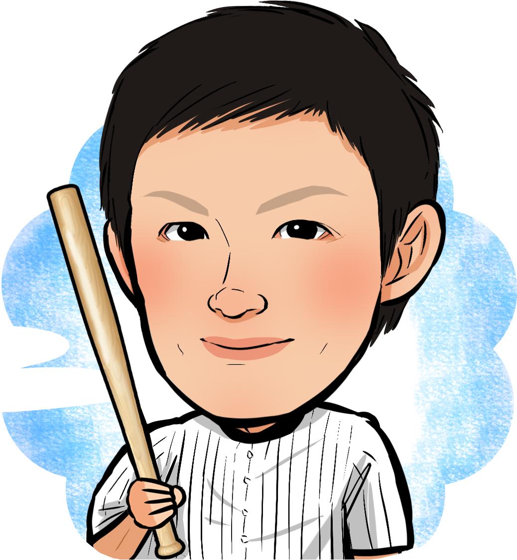 似顔絵 イラストレーター やましたまほ 野球