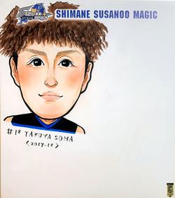 島根スサノオマジック似顔絵色紙 やましたまほ