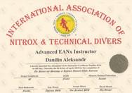 Диплом Advanced EANx Instructor IANTD.jp