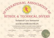 Диплом Technical Cave Instructor IANTD.j