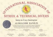 Диплом Intro to Cave Instructor IANTD.jp