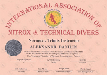 Диплом Normoxic Trimix Instructor IANTD.