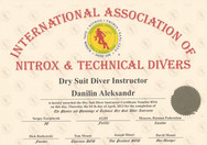 Диплом Dry Suit Diver Instructor IANTD.j