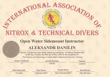 Диплом Open Water Sidemount Instructor I