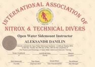 Диплом Open Water Sidemount Instructor I