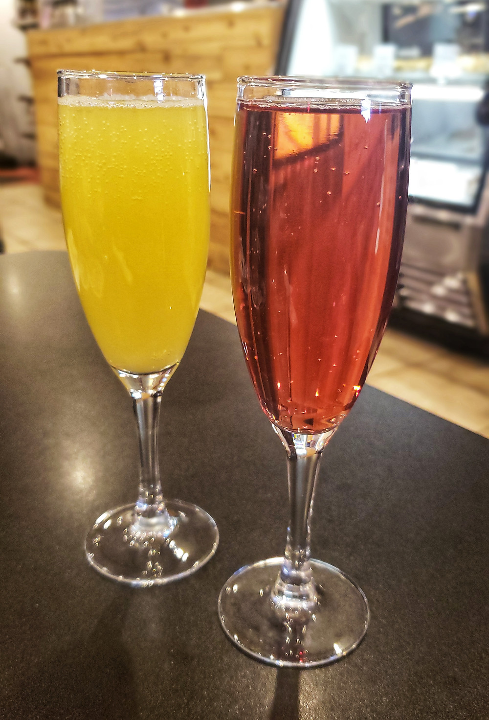 Tasty mimosas! They offer a variety of juices.