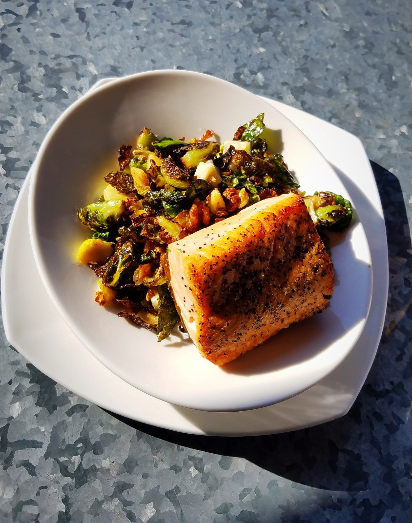 Crispy Brussels with Red Snapper