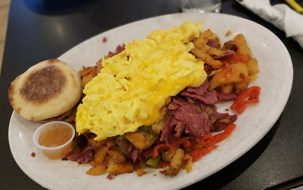 The Irish Corned Beef Hash offered a twist on traditional corned beef has by adding banana peppers.