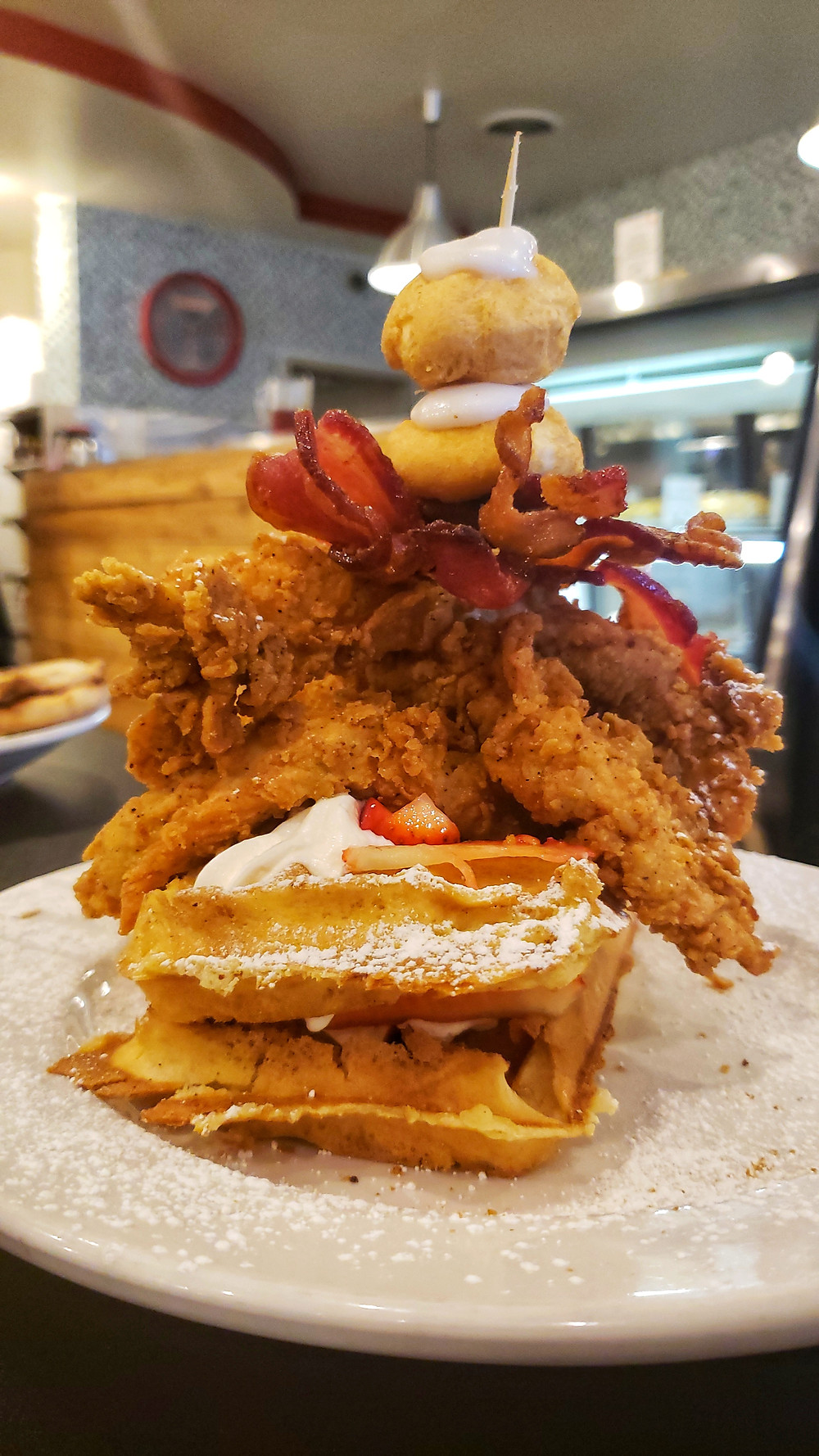 The Chicken, Bacon, and Waffles is not to be missed. Don't worry about the calories--just go for it!