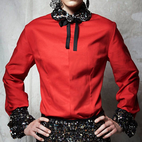 VIBRANT RED FRENCH-CUFF DRESS SHIRT