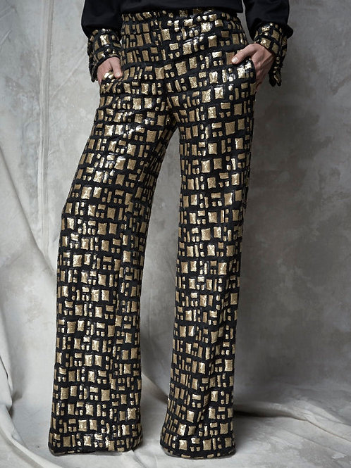 SEQUINED WIDE-LEG TROUSER