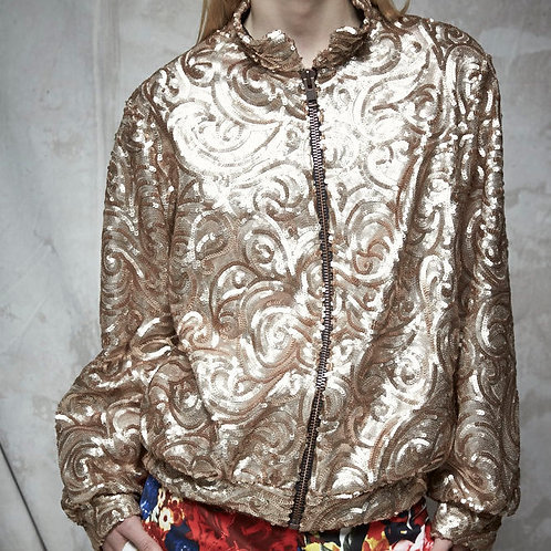 GOLD SEQUINED BOMBER