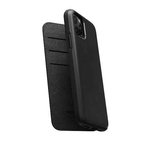Horween Rugged Folio Case Black Leather iPhone 11
