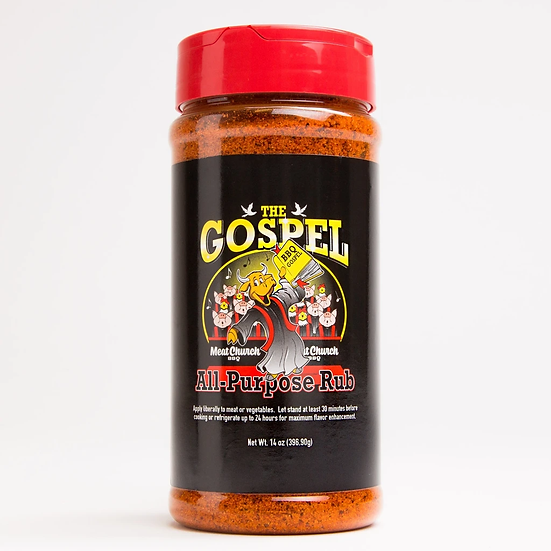 The Gospel All Purpose Meat Church BBQ Rub 14oz Shaker