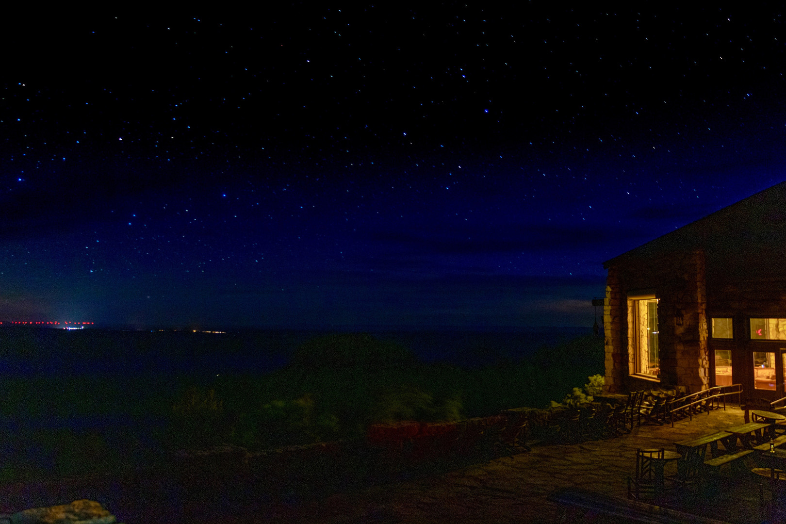 A night view of the lodge at the North Rim.