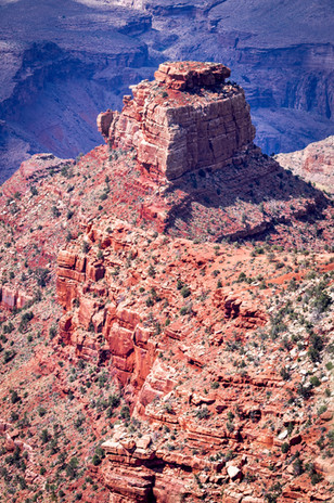 A rock outcropping, photographed from above on the Bright Angel Trail.