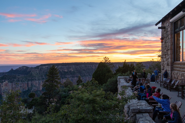 The sun sets over the North Rim.