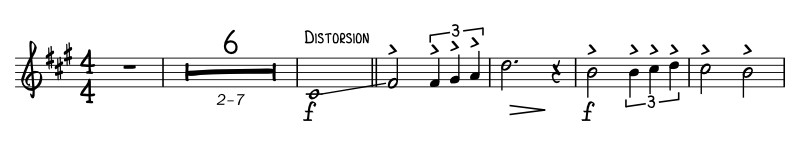 "The written out beginning of the song ""The Final Countdown"" has a very distinguished guitar slide at the start of the counterpoint line."