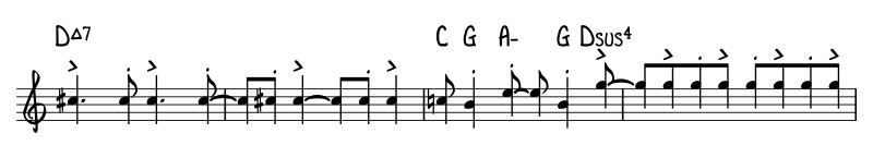 The same passage of music written in example 4 is shown rewritten with top-line notation in this example.