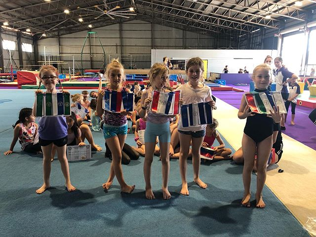 Here's our 4-7 year old gymnasts with th
