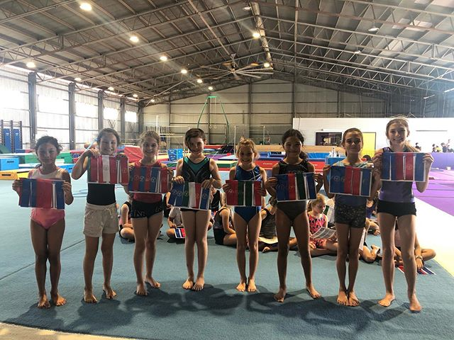 Our 8+ gymnasts with their certificates