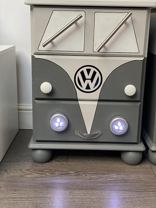 VW bedside cabinets in grey