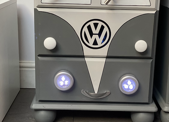 VW bedside cabinets in grey