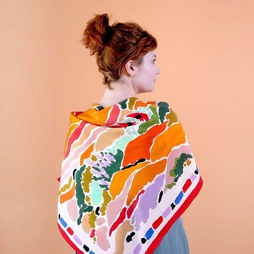 "Julie white Rainbow Outback 35""x35"" silk scarf"