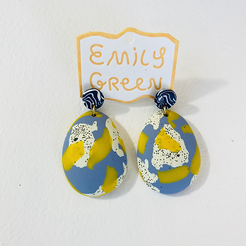 Emily Green Drop Earrings Blue Grey & Lemon