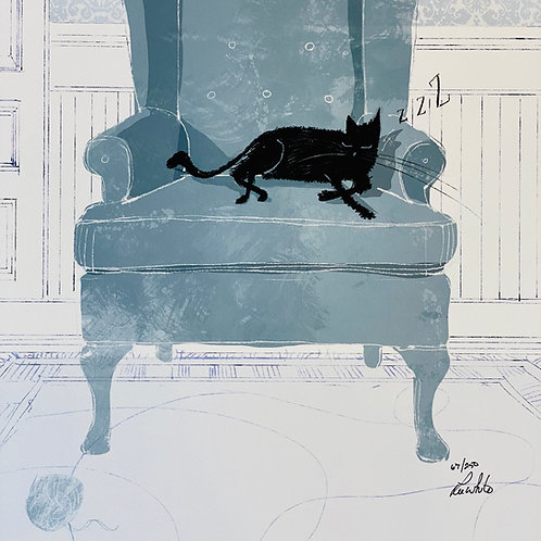 """Cat Nap""  Lee White Signed Print"