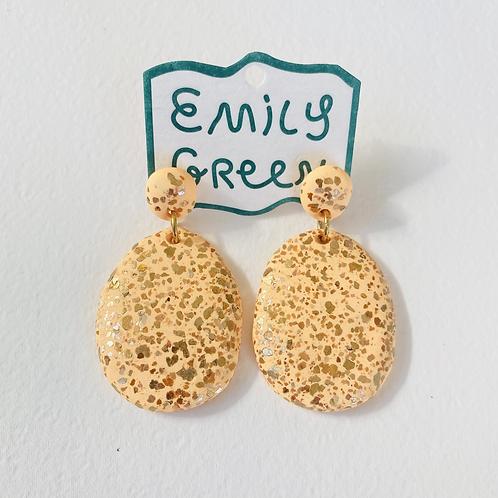 Emily Green Drop Earrings Peach Terrazzo