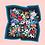 "Thumbnail: Julie white Flower Dance Black 35""x35"" silk scarf"