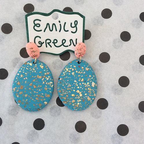 Peach & Antique Terrazzo Drop Earrings