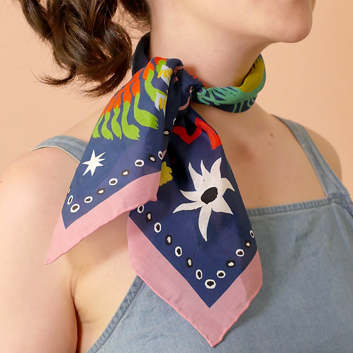 """Julie White Bush Jamboree 25"""" x 25"""" silk/cotton scarf"""
